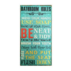 Bathroom Rules Green Wall Art 20cm x 38cm