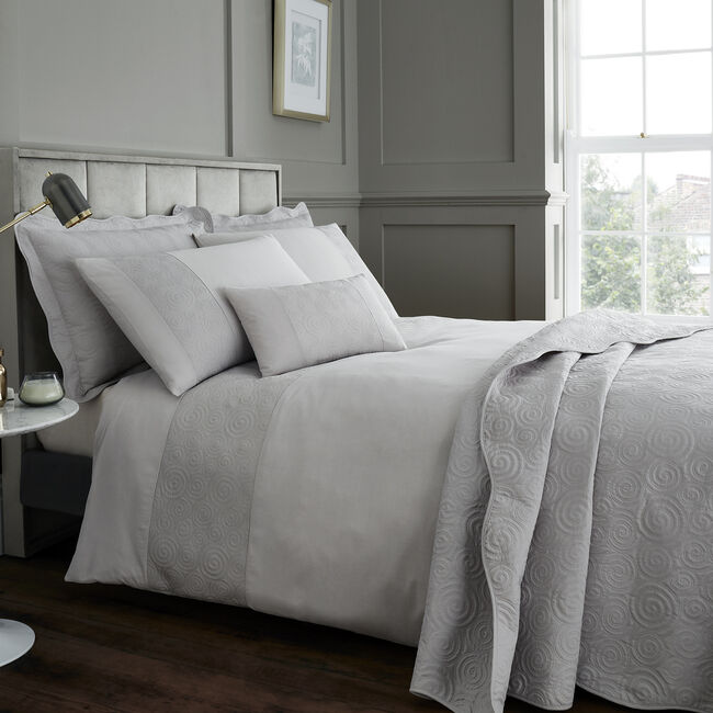 DOUBLE DUVET COVER Swirls Silver