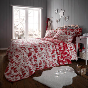 Christmas Toile Bedspread 200 x 220cm - Red