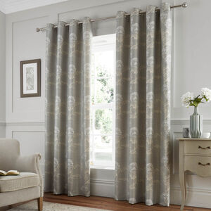 TEXTURED FLORAL DUCK EGG 66x54 Curtain