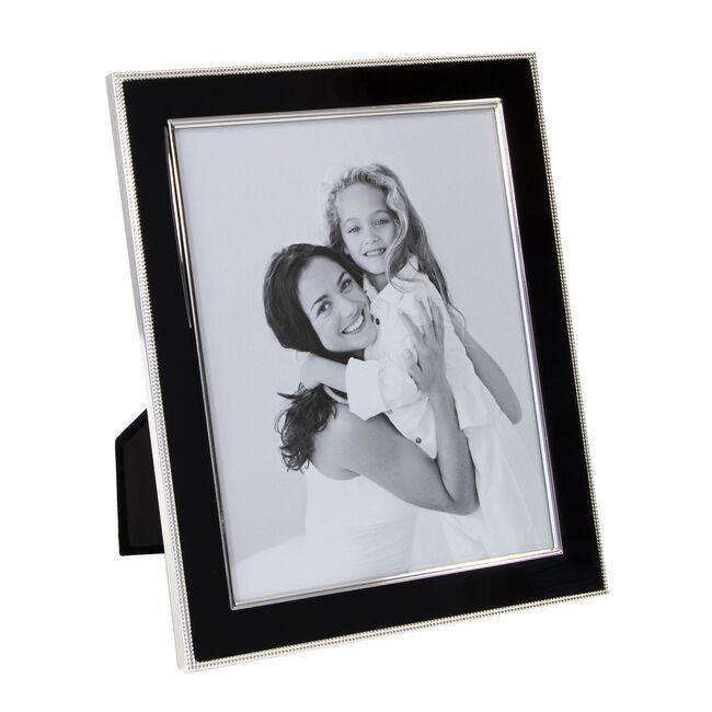 Silver Plated Black Enamel Photo Frame