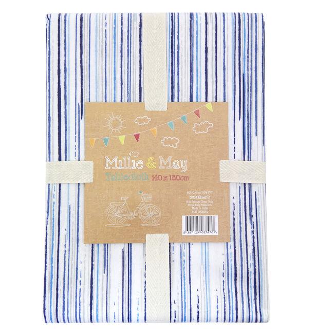 Stripe Navy Tablecloth 140x180cm