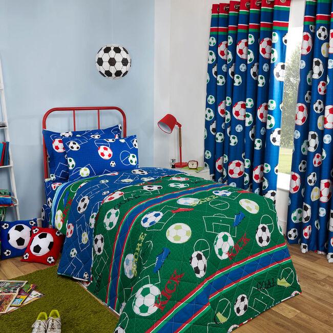 Football Frenzy Bedspread 200 x 220cm - Green