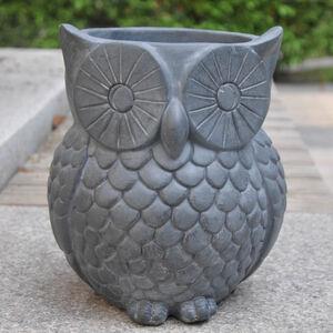 Owl Fibre Clay Plant Pot