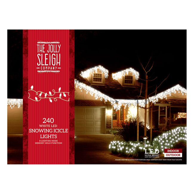 240 Icicle LED Snowing Light White