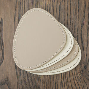 Reversible Oval Coasters - Cream & Taupe
