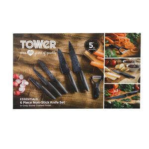 Tower Stone Coated Grey 6 Piece Knife Set