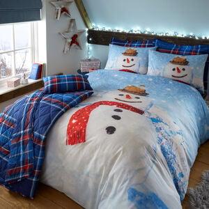 SINGLE DUVET COVER Snowman Check