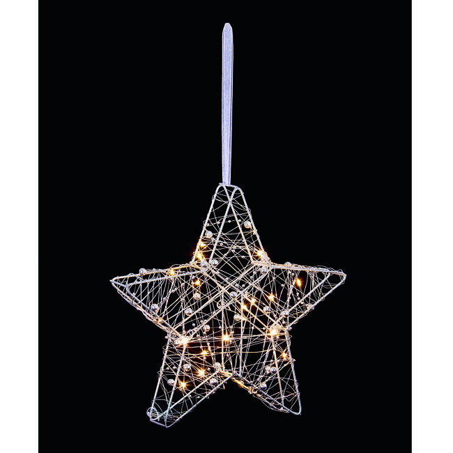 25cm Wire Star With LED Lights