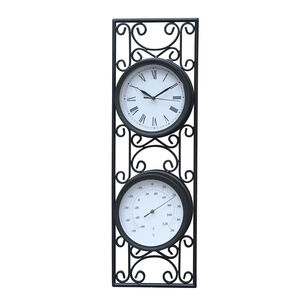 Dual Black Wall Clock with Thermometer