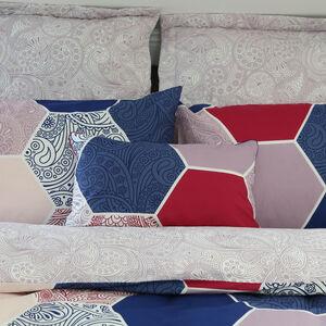 Paisley Tile Navy/Blush Cushion 30cm x 50cm