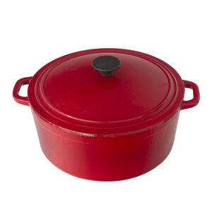 Cast Iron Red Round Casserole Dish 6.5L