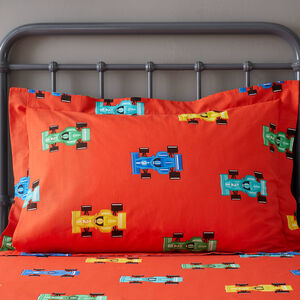 Racing Cars Oxford Pillowcase Pair - Red