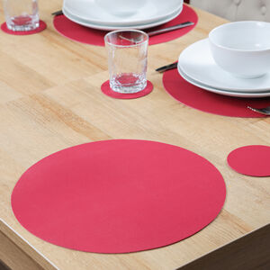 Round Leather Berry Placemat