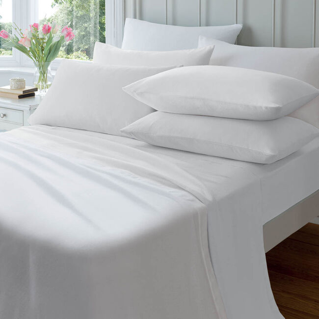 SINGLE FITTED SHEET  Flannelette White