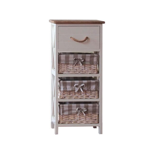 Country Cross Drawer 3 Basket Storage Unit - Cream
