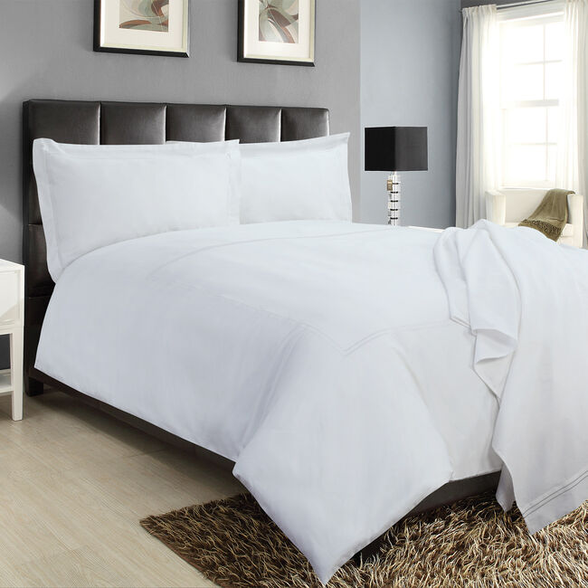 SINGLE DUVET COVER Double Stitch White