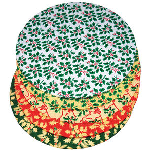 Holly Print Round Cake Board