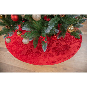 "Textured Damask Tree Skirt 52"" - Red"
