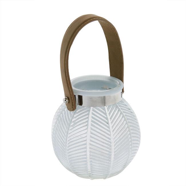 Medium Blue Glass Lantern with Leather Strap