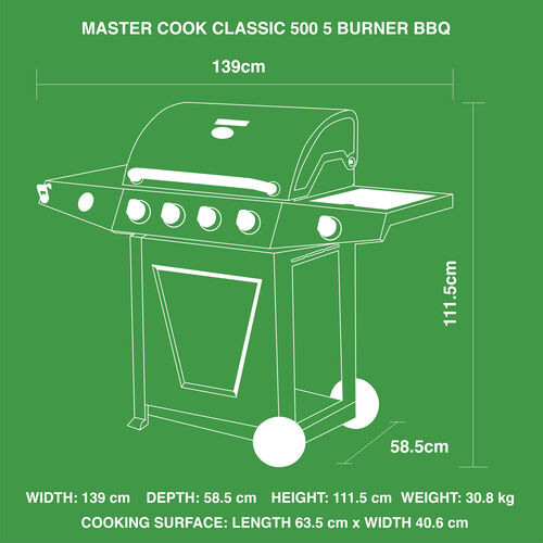 Master Cook Classic 500 5 Burner Gas Barbecue