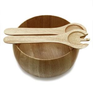 Rubberwood Salad Bowl & Servers