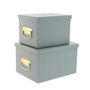 Set of Two Grey Storage Trunks