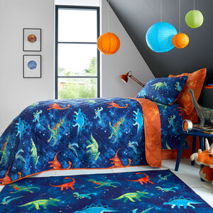 Space Dinosaurs Bedspread 200 x 220cm - Navy