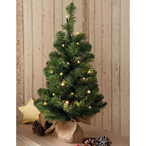 Pre-Lit Christmas Tree with Hessian Base