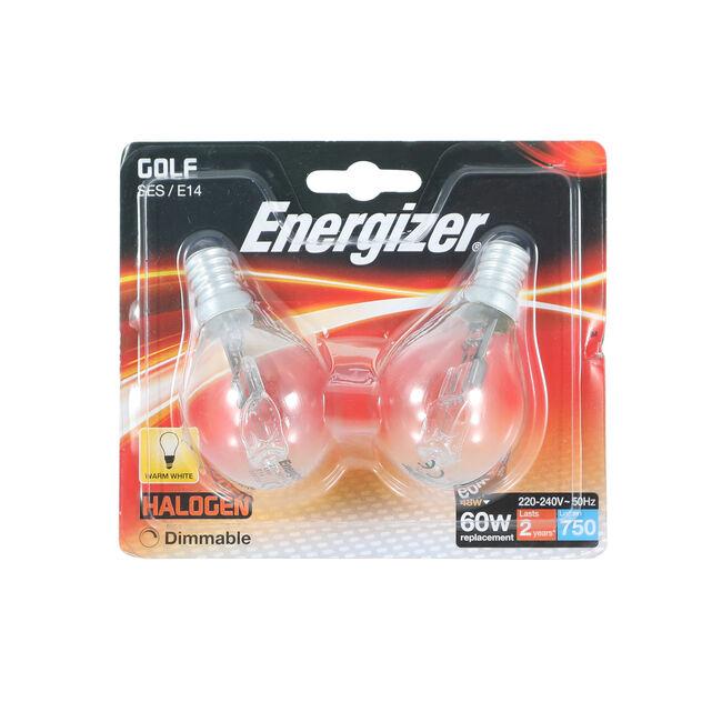 Energizer (E14) 2 Halogen Golf Ball Bulbs 33W