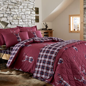 SINGLE DUVET COVER Brushed Cotton Stag Check Berry