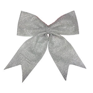 Large Silver Diamante Christmas Bow