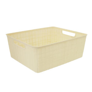 Hessian Cream Storage Basket 12L