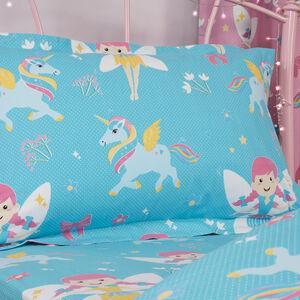 Fairy Unicorn Oxford Pillowcase Pair - Aqua