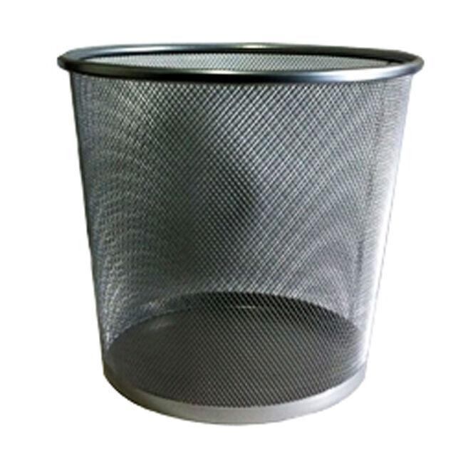 Mesh Waste Paper Bin Silver