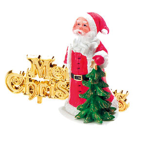 Santa & Merry Christmas Cake Toppers