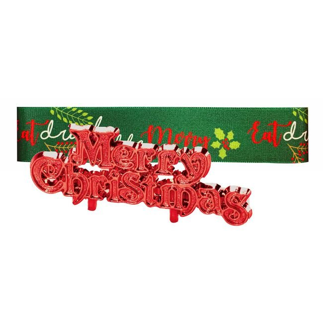 Green and Red Merry Christmas Ribbon & Motto Set
