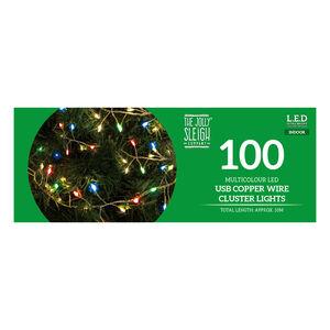 100 Multicolour Cluster LED USB Copper Wire Lights