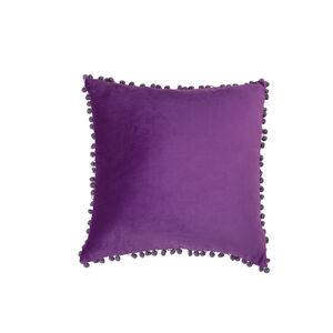 Pom Pom Cushion 45x45cm - Purple