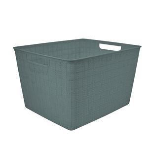 Hessian Blue Storage Basket 18L