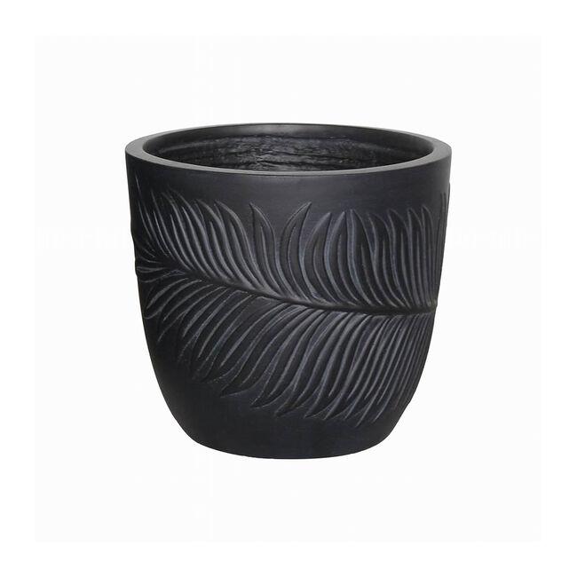 Medium Washed Leaf Design Fibre Clay Pot - Black