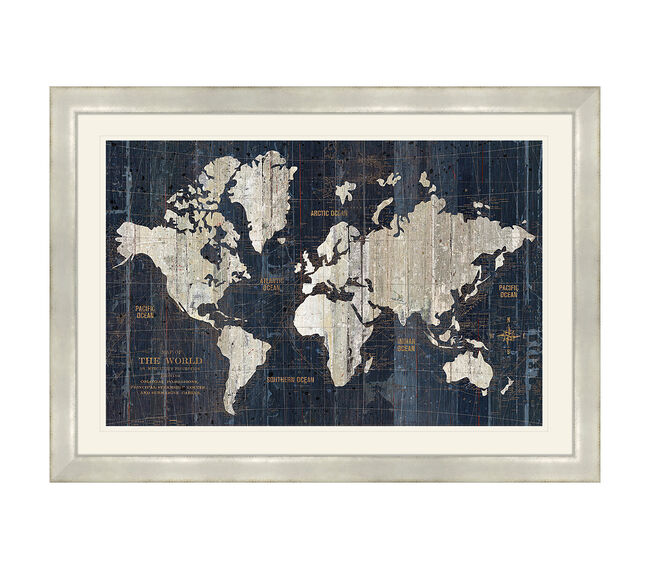 Old World Map Framed 69x49cm