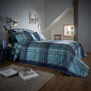Brushed Cotton Freeman Check Bedspread 200x200cm