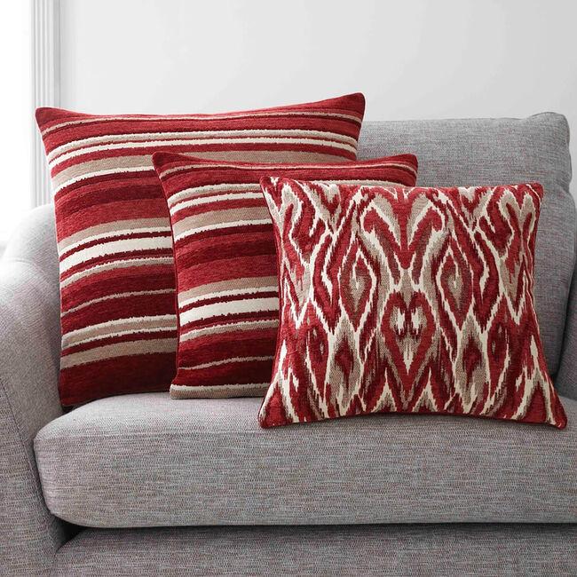 Rhea Stripe Cushion 45 x 45cm - Red