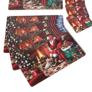 Fireside Santa Mats & Coasters - 4 pack