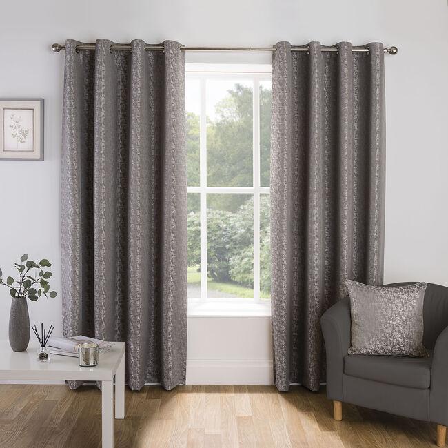 CROSSHATCH SILVER 66x54 Curtain