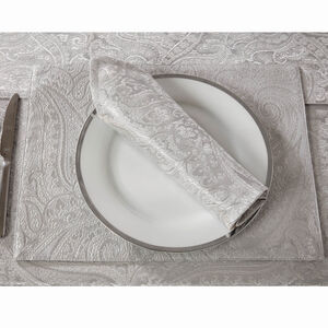 Paisley Damask Placemat 2 Pack - Silver