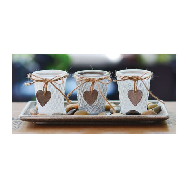 Rustic Heart and Bow 3 Tealight Holders