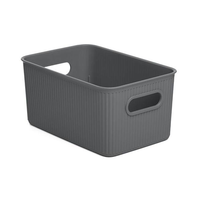 Stripe Storage Basket 5L - Grey
