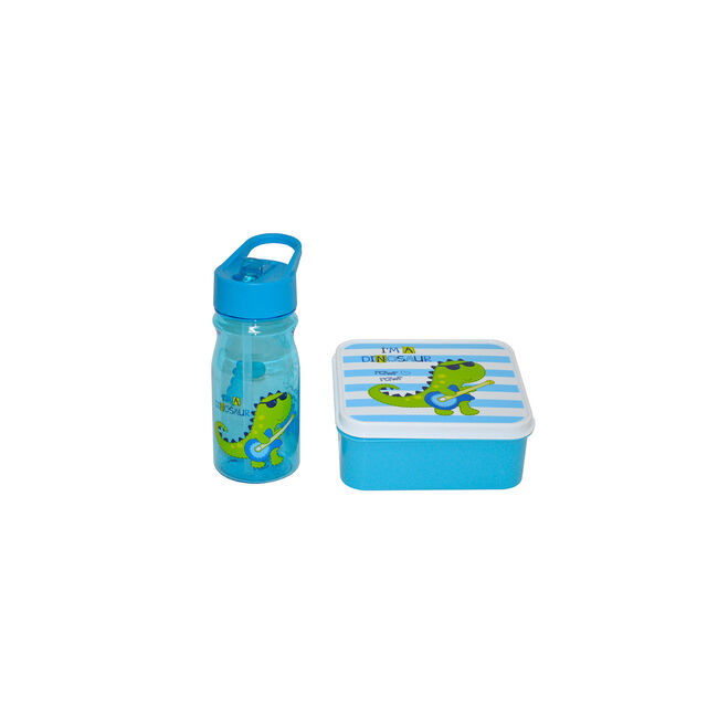 Blue Dino Kids Lunch Box and 350ml Bottle